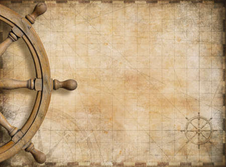 steering: steering wheel and blank vintage nautical map background Stock Photo
