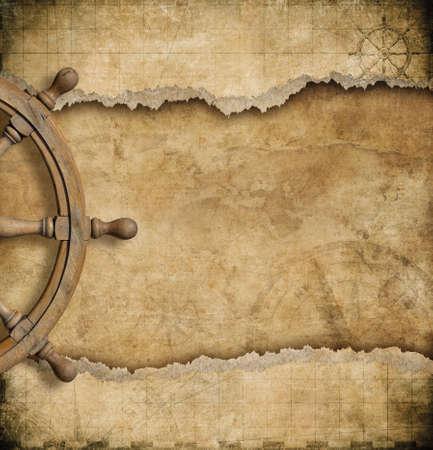 pirata: volante y mapa n�utico vendimia rasgado