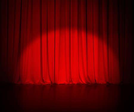 スポット ライトと背景の劇場赤いカーテンやカーテン 写真素材