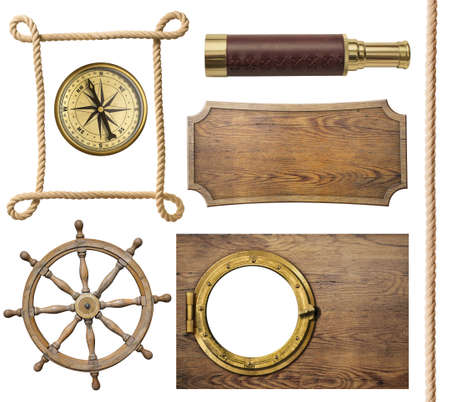 ropes: nautical objects rope, compass, steering wheel, signboard, porthole isolated