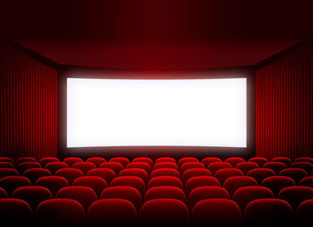 screen: cinema screen in red audience