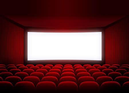 cinema screen: cinema screen in red audience