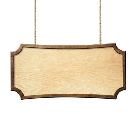 wood sign hanging on ropes isolated on white photo