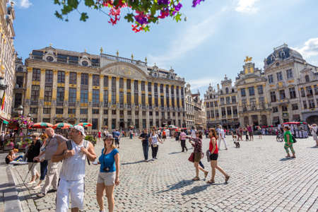 memorable: Grand-Place (Grote Markt) is the central square of Brussels. Many tourists visit the most memorable landmark in Brussels.