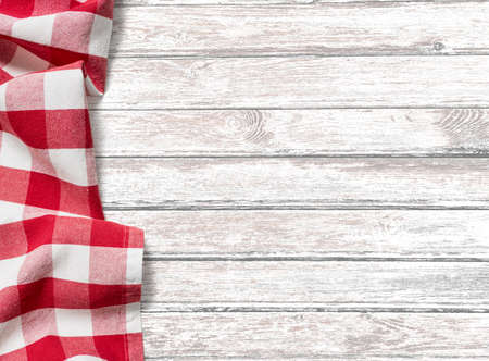 kitchen table background with red picnic cloth