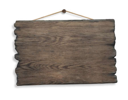 wood sign hanging on rope and nail isolated Standard-Bild
