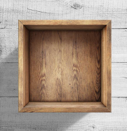 Wooden box on white wood background