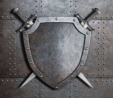 knight in armor: knight shield and two crossed swords over armor plates or gate