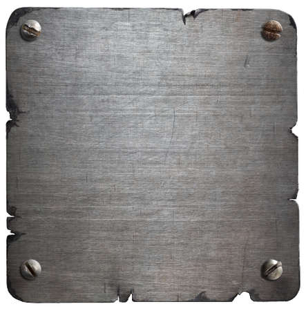 torn metal: Old torn metal plate with bolts isolated