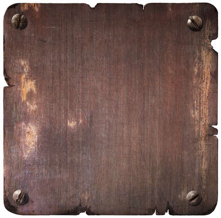 torn metal: Rusty torn metal plate with bolts isolated Stock Photo