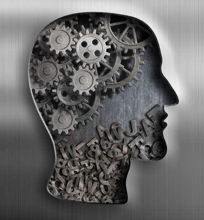 mente humana: Cerebro Metal. Pensando, la psicología, la creatividad, el concepto de lenguaje. Foto de archivo