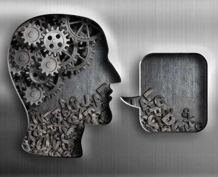 Metal head with brain gears and speech bubble 写真素材