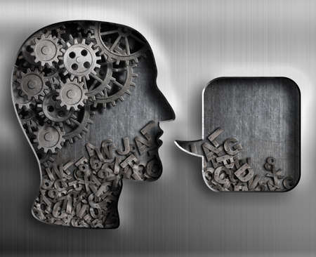 thinking machines: Metal head with brain gears and speech bubble Stock Photo