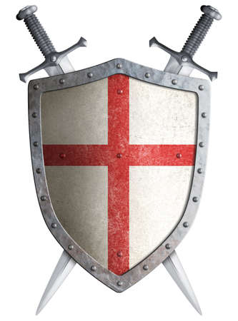 espadas medievales: viejo escudo cruzado medieval y dos espadas cruzadas aislados Foto de archivo