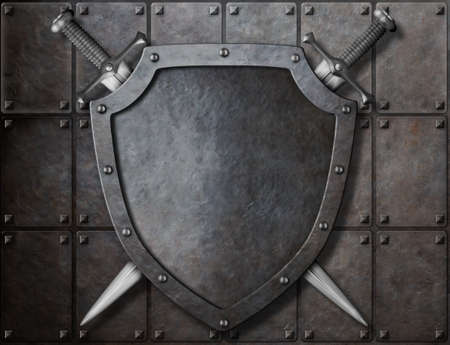 knight shield and two swords over armor plates photo