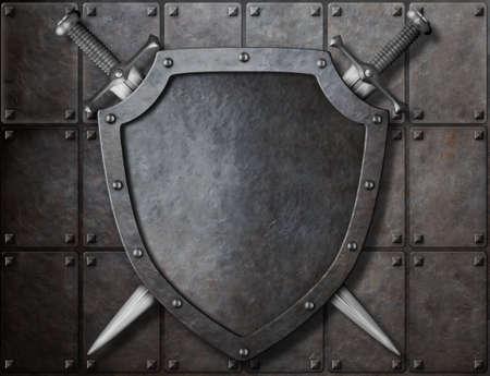 knight shield i dwa miecze nad płytami pancernymi