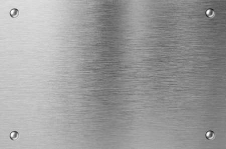 silver backgrounds: stainless steel metal plate with rivets Stock Photo