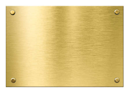 gold or brass metal plaque with rivets isolated Reklamní fotografie