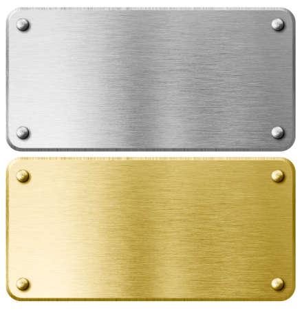 ゴールドや真鍮リベット分離された金属プラーク 写真素材
