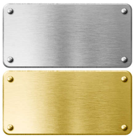 Gold oder Messing Metallplatte mit Nieten isoliert Standard-Bild
