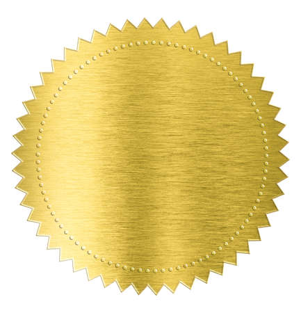 gold metal foil sticker seal label isolated with clipping path included Foto de archivo