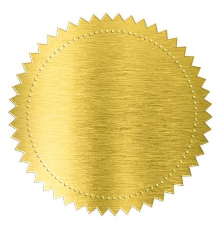metals: etiqueta engomada del sello de l�mina met�lica de oro aislado con trazado de recorte incluidos