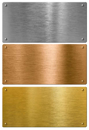 shiny metal background: silver, gold and bronze metal high quality plates set