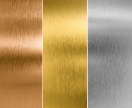 metal steel: silver, gold and bronze metal texture backgrounds