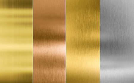 gold silver: Stitched silver, gold and bronze metal texture backgrounds Stock Photo
