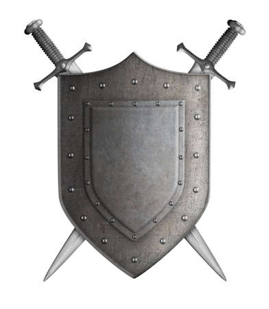espadas medievales: escudo de armas medievales escudo Caballero y espadas aislado Foto de archivo