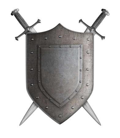 cavaliere medievale: stemma medievali scudo cavaliere e spade isolato