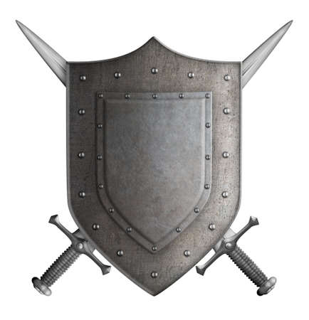 medieval coat of arms knight shield and two swords isolated photo