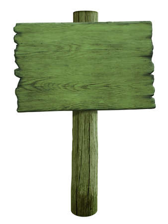 green blank wood road sign isolated on white photo
