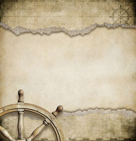 steering wheel and ripped nautical map background