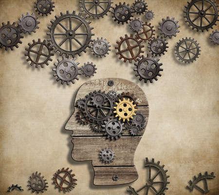 psicologia: Ilustración del cerebro a partir de engranajes y ruedas dentadas Foto de archivo