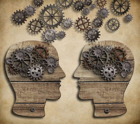 psychology: Communication or arguing or information and knowledge exchange concept Stock Photo