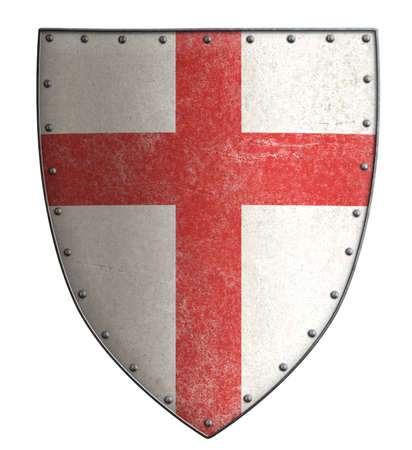 iron cross: White crusaders shield with red cross isolated on white