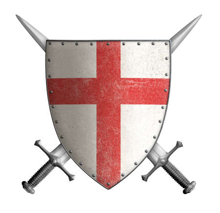 medieval crusader knight shield with cross red and two crossed swords isolated
