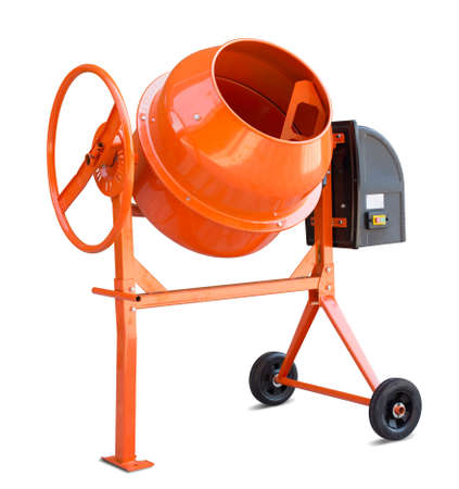work tools: Concrete mixer isolated on white with clipping path included