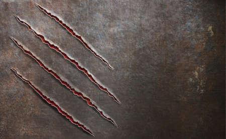 garra: fondo de metal viejo rayado por la uña bestia