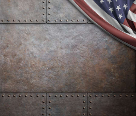 armoring: rust metal texture with rivets background Stock Photo