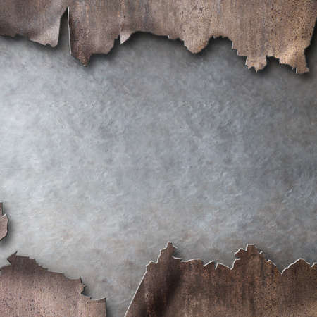 damaged rusty metal with torn hole background Standard-Bild