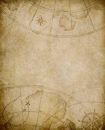 ancient map: aged nautical map background with copyspace