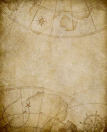 mapa del tesoro: envejecido fondo mapa n�utico con copyspace