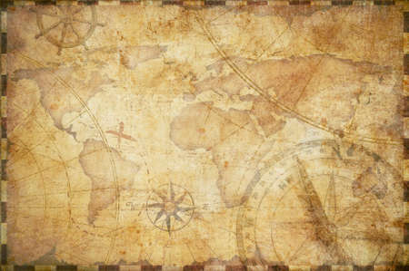 vintage world map: old nautical treasure map illustration