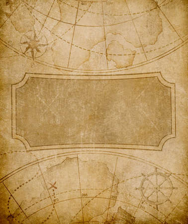 old book cover: aged map cover template or background Stock Photo