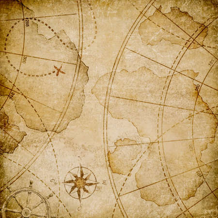 aged nautical pirates map stylization Stock Photo