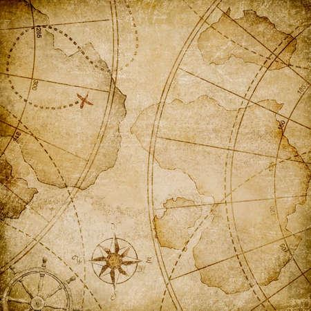 aged: aged nautical pirates map stylization Stock Photo