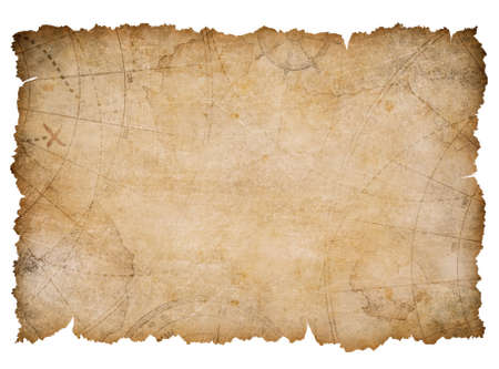 nautical map with torn edges isolated on white