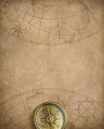 old rustic map: aged compass and nautical map illustration background